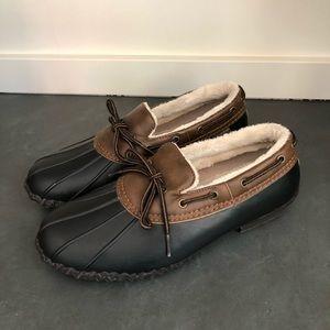 JBU  Black Brown Duck Boots Shoes Size 9.5